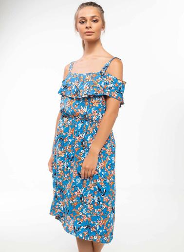 DeFacto Kayık Yaka Çiçekli Midi Elbise Lacivert